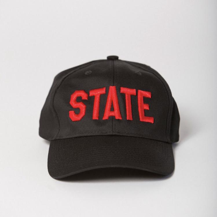 front view of black baseball hat with STATE embroidered on the front in red