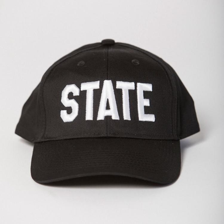 front view black baseball hat with STATE in white embroidered on the front