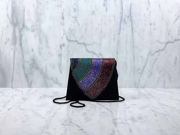 Rainbow Beaded Evening Flapbag