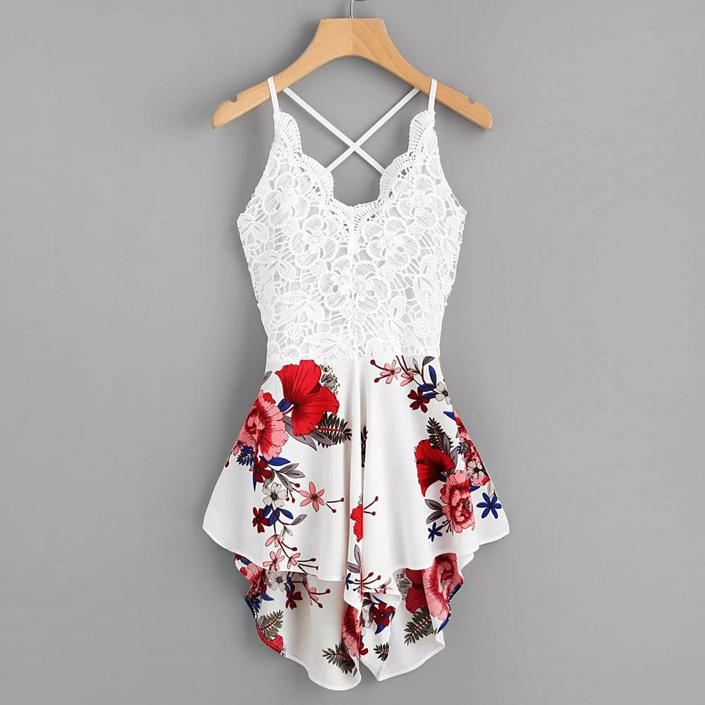 Romper Lace White Floral RomperFlamingo Online Store - Flamingo Online Store - Free Shipping.