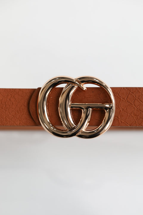 Tan Croc Fashion Belt
