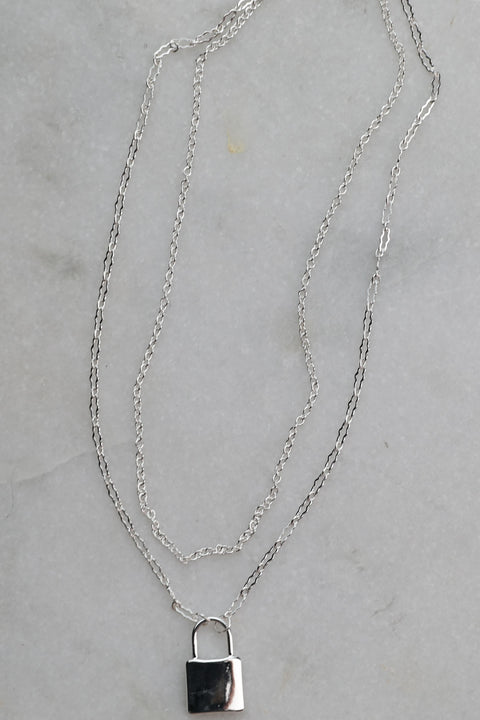 Lock And Key Rhodium Necklace