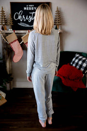 Cozy Autumn Grey Loungewear Bottoms