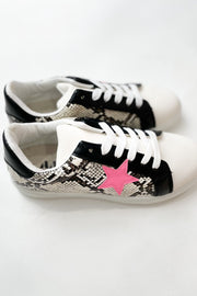 To The Stars White Snakeskin Sneakers