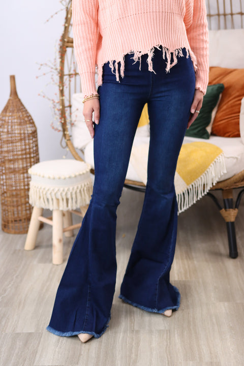 Emily Vintage Washed Denim Flare Jeans
