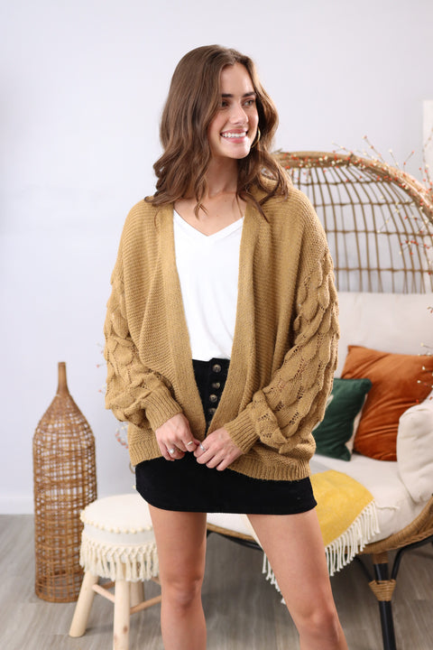 Thankful Heart Camel Cardigan