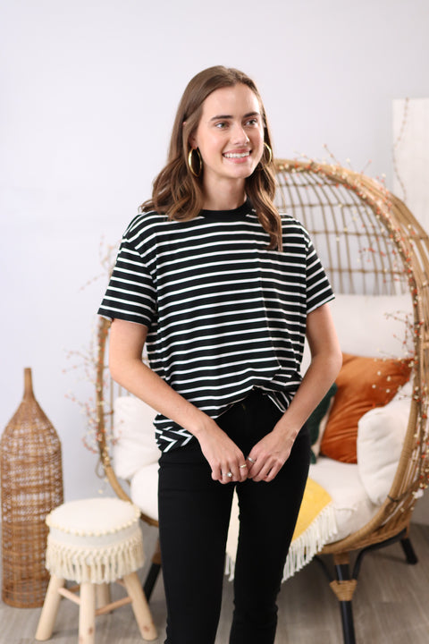 Day After Forever Black Striped Top