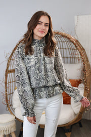 Holly Snakeskin Gray Top