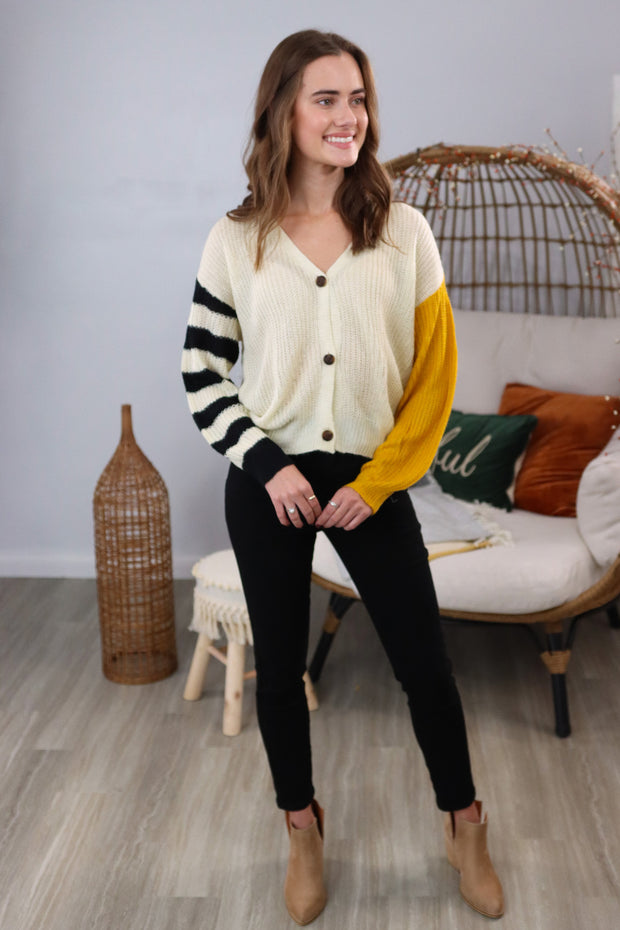 What You Mean To Me Ivory/Mustard Sweater