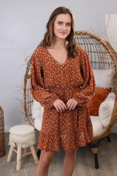 Fall Floral Rust Mix Dress