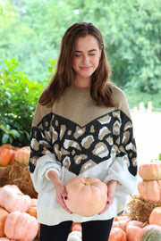 Fall Is In The Air Taupe Mix Sweater
