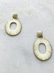 Raffia Wrapped Oval Earrings