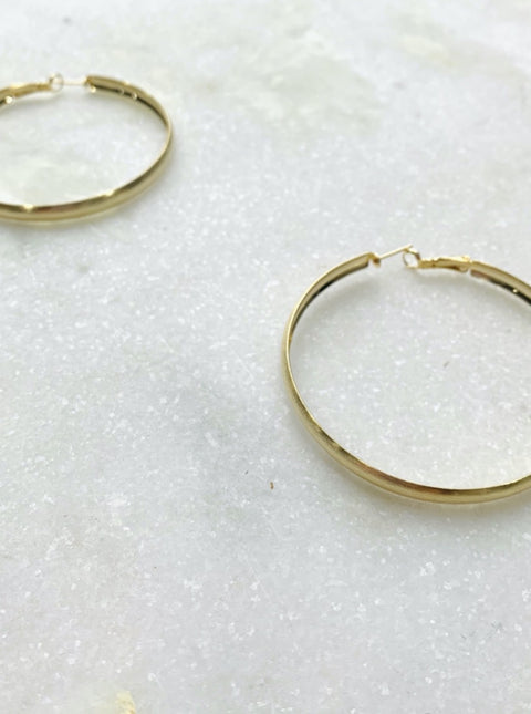 Rounded Basic Gold Hoop Earrings