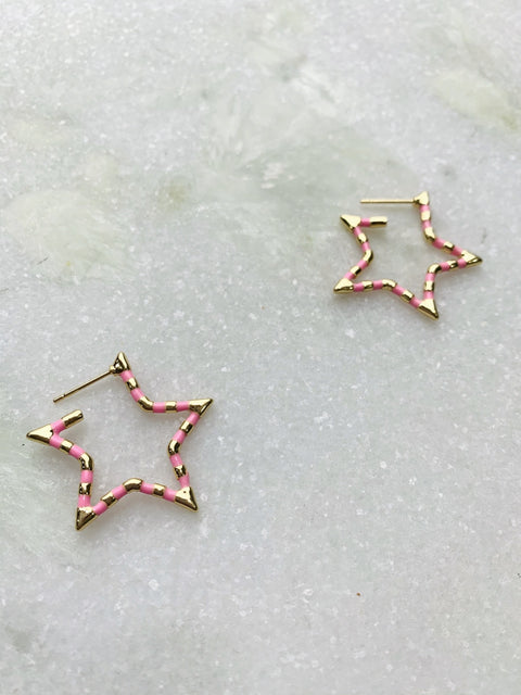 Star Pink Hoop Earrings