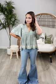 Out For Brunch Dusty Sage Top