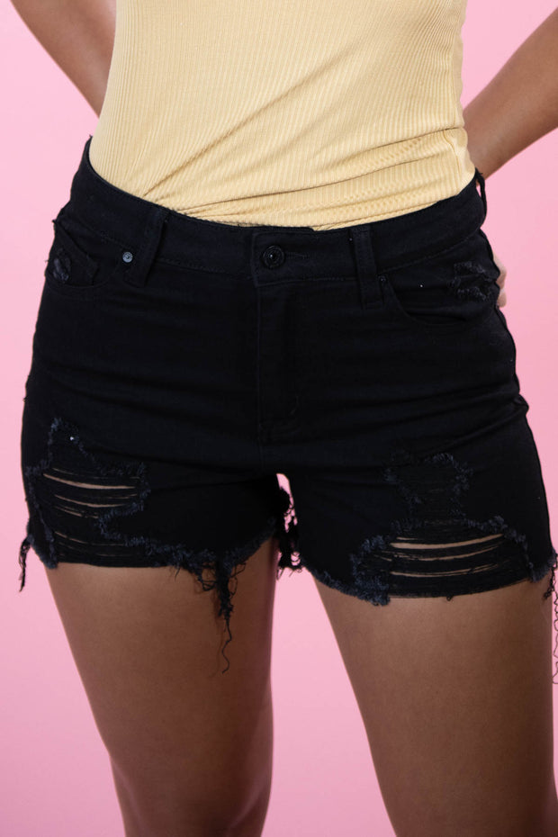 American Honey Black Denim Shorts