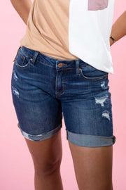 She's Got It All Dark Denim Shorts