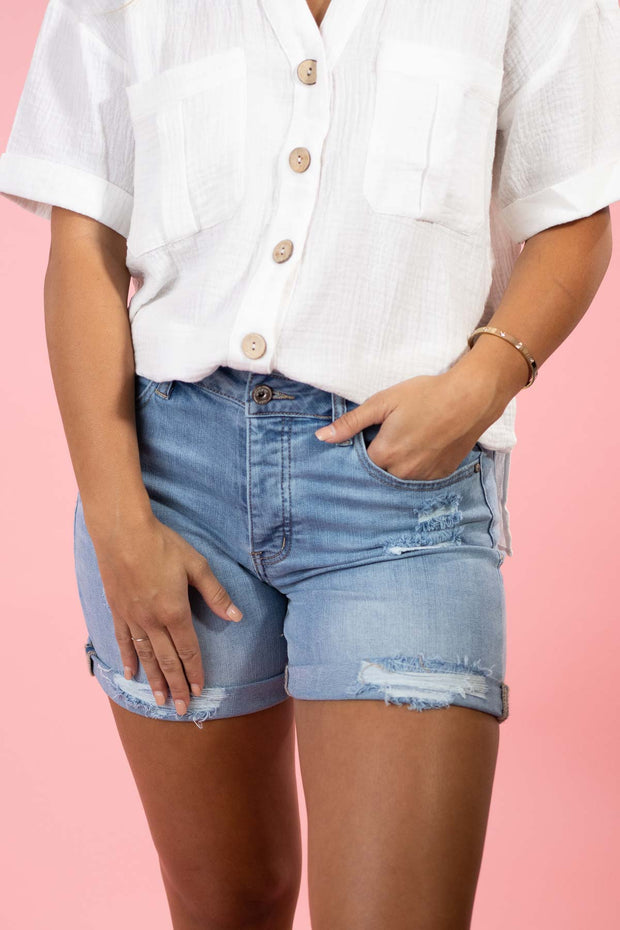 Here We Go Again Medium Denim Shorts