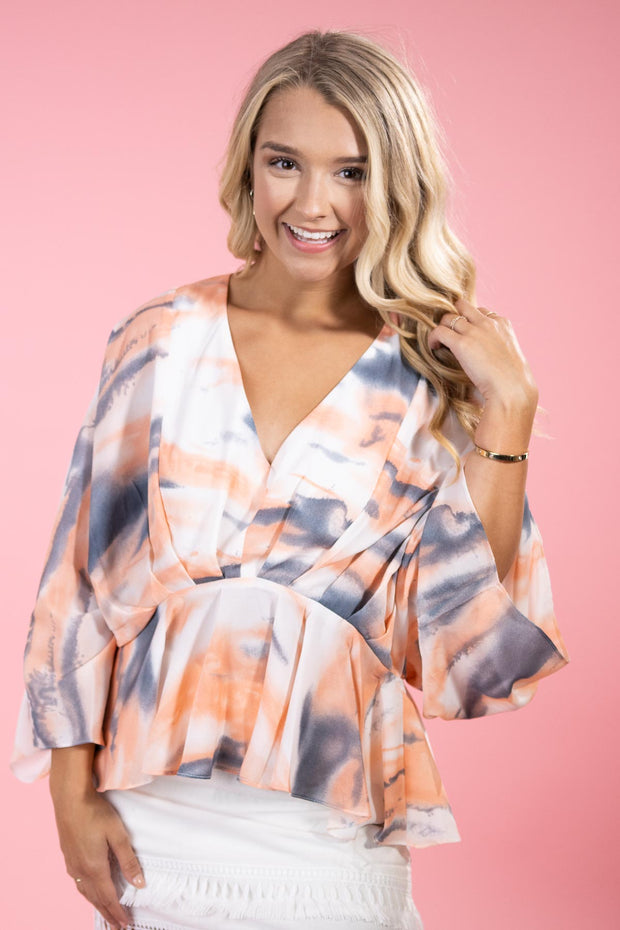 Begin Again Salmon Babydoll Top
