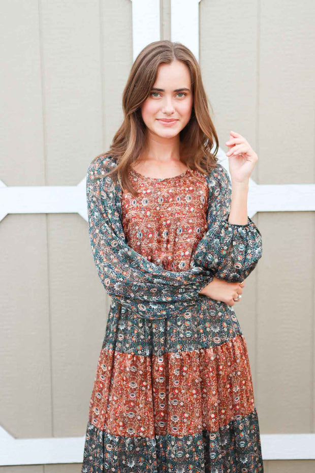 Better Things Are Coming Navy & Rust Dress