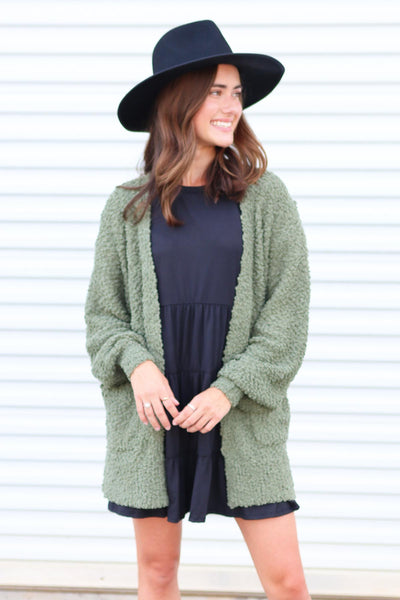 So This Is Love Light Olive Cardigan