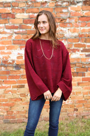 Need You Now Burgundy Sweater