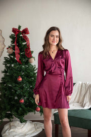 Here For The Presents Wine Satin Dress