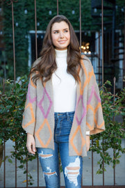 All About It Taupe Mix Zigzag Pattern Cardigan