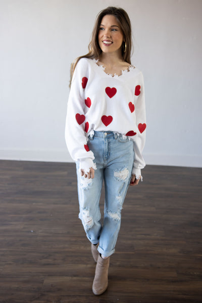 Heart On My Sleeve Ivory/Red Sweater