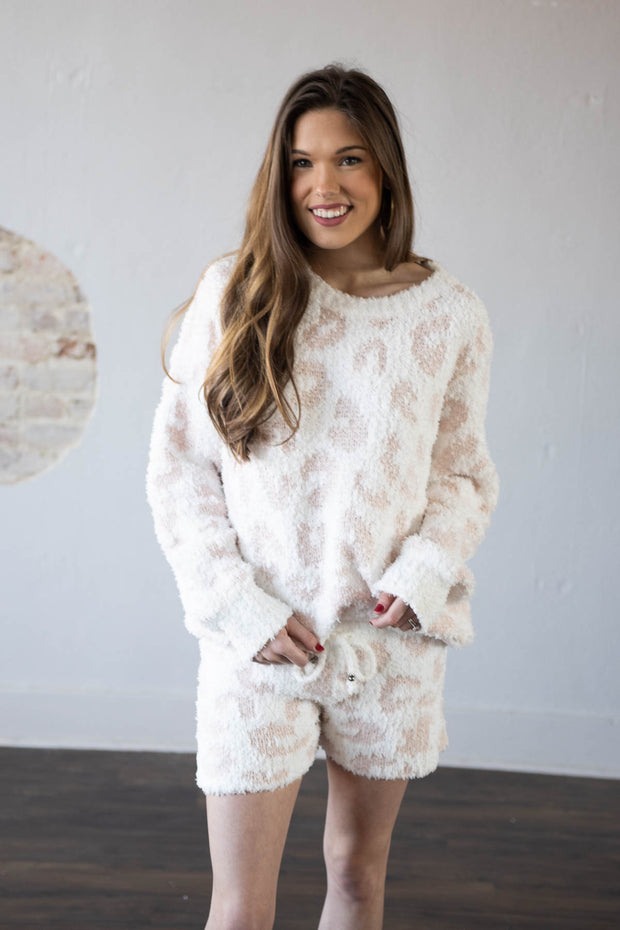 Living Lazy White/Pink Leopard Loungewear Top