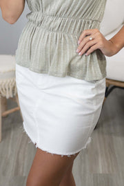 She's An Angel White Denim Skirt