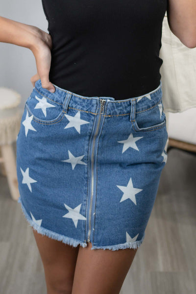 Shine On Star Print Denim Skirt