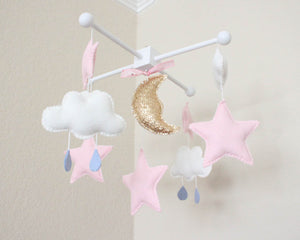 Starry Night Mobile, Baby Crib Mobile, Clouds and Stars Nursery Room Decor
