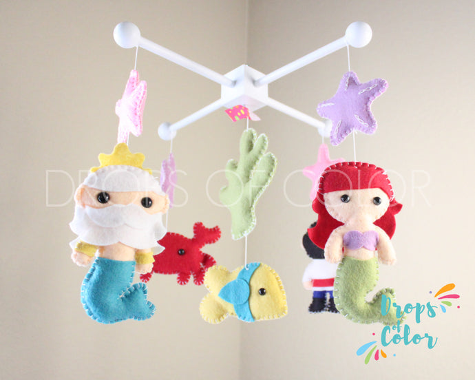 Little Mermaid Mobile, Baby Crib Mobile, Ocean Sea Creatures, Princess Nursery Room Decor