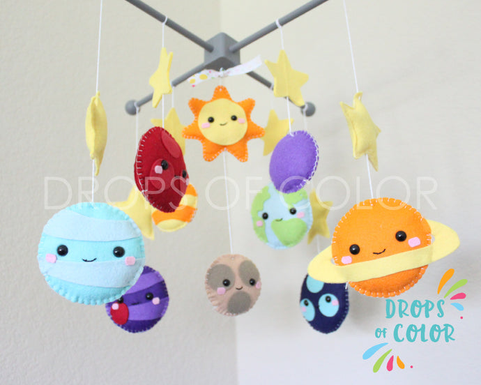 Planets Mobile, Baby Crib Mobile, Solar System, Space Planets, Nursery Room Decor