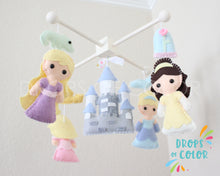 Load image into Gallery viewer, Princess Mobile, Baby Crib Mobile, Nursery Inspired by Princesses and Castle, Princess Nursery Room Decor