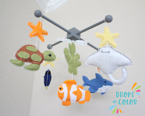 Ocean Mobile, Baby Crib Mobile, Under the Sea Creatures, Inspired Finding Nemo, Nursery Room Decor