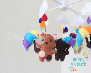 Raindrops Pets Mobile, Baby Crib Mobile, Nursery Decor Its Raining Cats and Dogs