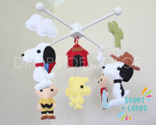 Load image into Gallery viewer, Snoopy Mobile, Baby Crib Mobile, Charlie Brown Snoopy Friends, Nursery Room Decor