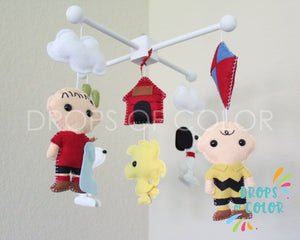 Snoopy Mobile, Baby Crib Mobile, Charlie Brown Snoopy Friends, Nursery Room Decor