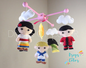 It's a Small World Mobile, Baby Crib Mobile, Nursery Wall Decor, Kids around the World
