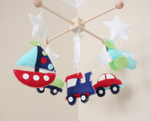 Load image into Gallery viewer, Transportation Mobile, Baby Crib Mobile, Car Train Nursery Room Decor