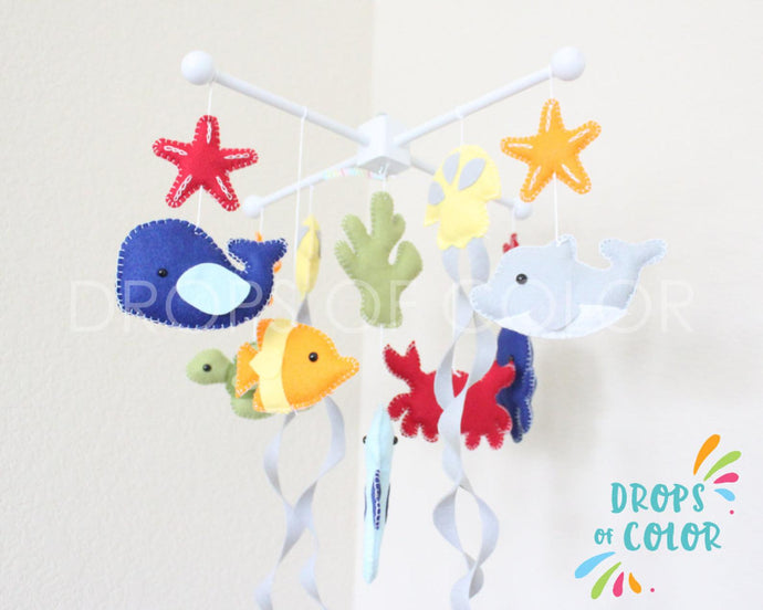 Ocean Mobile, Baby Crib Mobile, Under the Sea Creatures Nursery Room Decor