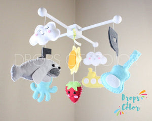 The Yellow Submarine Baby Crib Mobile, The Beatles Inspired Nursery Room Decor