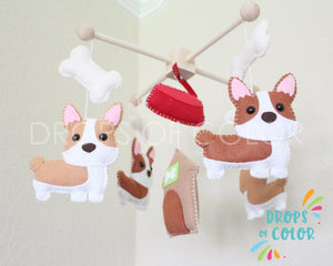 Corgi Mobile, Baby Crib Mobile, Corgi Dog Pets Nursery Room Decor, England Wall Art