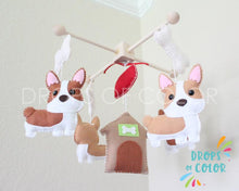 Load image into Gallery viewer, Corgi Mobile, Baby Crib Mobile, Corgi Dog Pets Nursery Room Decor, England Wall Art