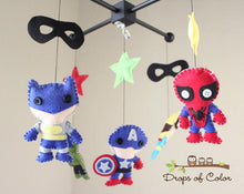 Load image into Gallery viewer, Super Heroes Mobile, Baby Crib Mobile, Boys Nursery Room Decor
