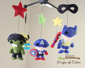Super Heroes Mobile, Baby Crib Mobile, Boys Nursery Room Decor