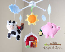 Load image into Gallery viewer, Farm Mobile, Baby Crib Mobile, Old MacDonald Farm Nursery Room Decor, Animals Cow Pig