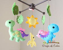 Load image into Gallery viewer, Dinosaurs Mobile, Baby Crib Mobile, Dino T-Rex Girl's Nursery Room Decor